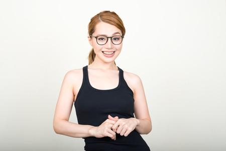 raised eyebrows: Portrait of Japanese woman Stock Photo