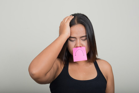 dissapointed: Sad overweight woman Stock Photo