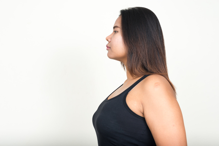 woman profile: Side profile of overweight woman Stock Photo