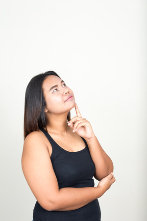 day dreaming: Overweight woman day dreaming Stock Photo
