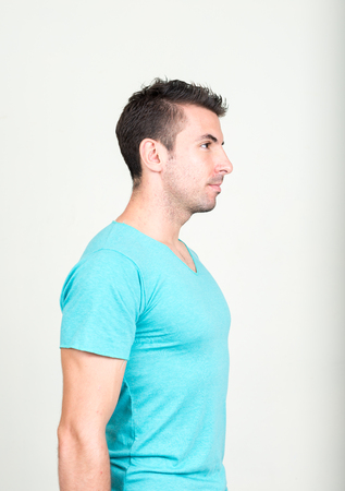 one mid adult man: Side profile of man
