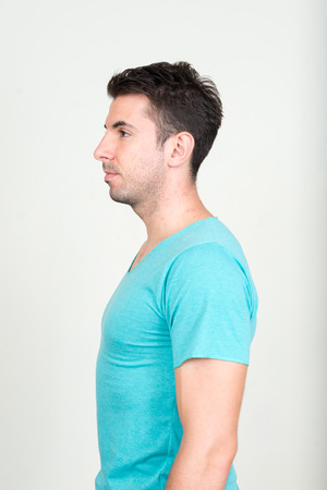 southern european descent: Side profile of man