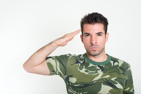 soldier: Portrait of a soldier saluting