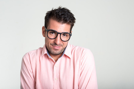 spanish looking: Handsome man with eyeglasses