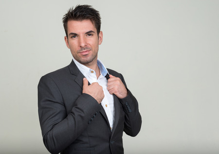 only one mid adult male: Portrait of Spanish man Stock Photo