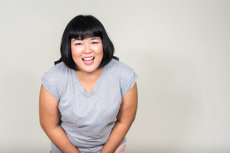 korean woman: Fat Asian woman Stock Photo