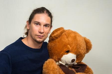 teddy bear background: Dad with teddy bear