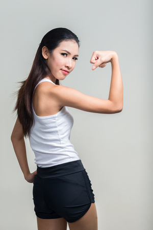 strong women: Asian fitness woman