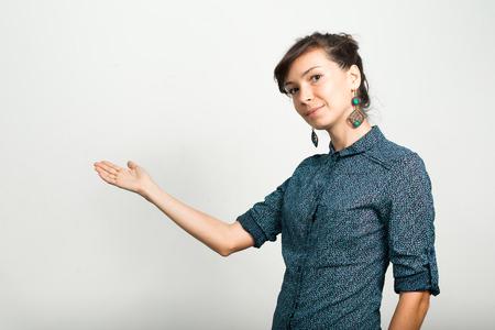 presenting: Woman presenting Stock Photo