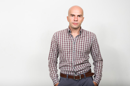young business people: Portrait of bald businessman