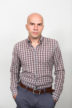 hombre calvo: Retrato de hombre de negocios Calvo