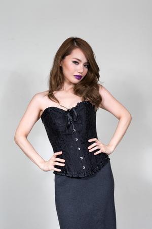 gothic fetish: Gothic Asian woman Stock Photo