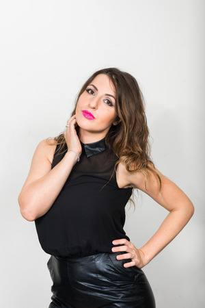big boobs: Portrait of sexy Caucasian brunette woman