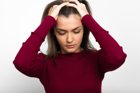 young skin: Stressed Caucasian woman