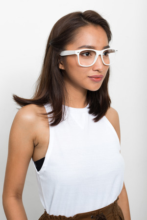 chica nerd: Beautiful Asian nerd girl wearing eyeglasses