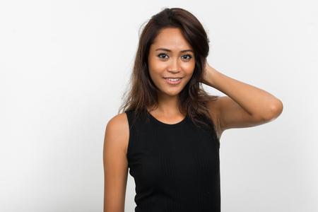 femme brune sexy: Portrait de la belle femme asiatique