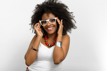 happy black woman: Black woman with afro hairstyle