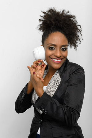 ethiopian ethnicity: African American businesswoman holding coffee cup Stock Photo