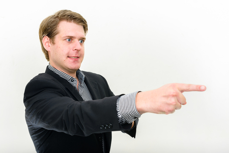 psychopath: Psychopath businessman pointing with finger angrily