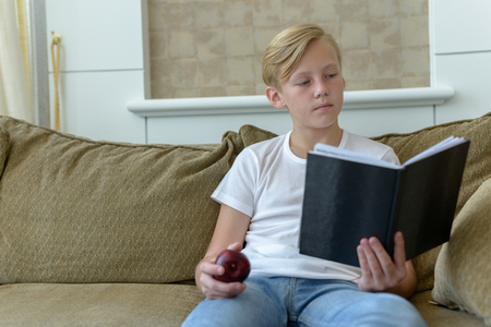 teen boys: Scandinavian boy sitting on sofa and holding apple while reading book Stock Photo