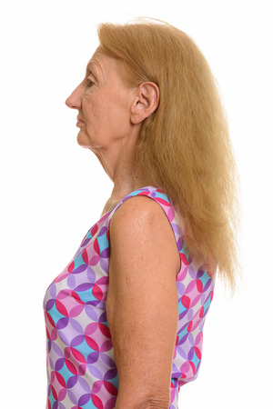 woman profile: Profile view of senior woman
