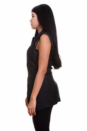 woman profile: Profile view of young Asian woman Stock Photo