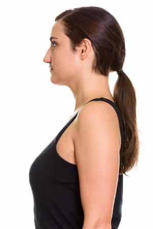 woman profile: Profile view of beautiful woman Stock Photo