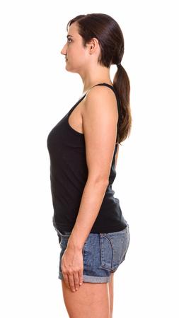 woman profile: Profile view of beautiful woman standing