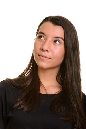 thinking woman: Young beautiful Caucasian woman thinking Stock Photo