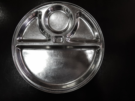 Empty Indian Style Round Thali Plate Used To Serve Food Horizontal Shot