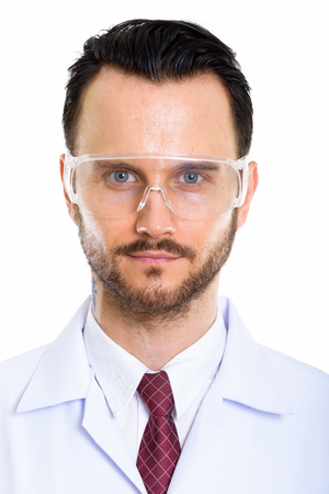 Young handsome bearded man doctor