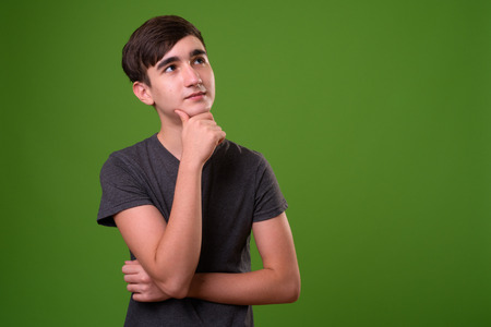 Young handsome Iranian teenage boy against green background Foto de archivo