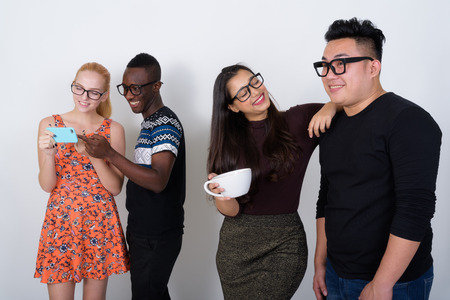 Studio shot of happy diverse group of multi ethnic friends smili Stock Photo