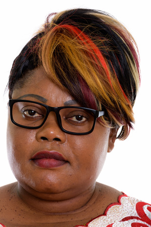 Face of fat black African woman wearing eyeglasses Banco de Imagens