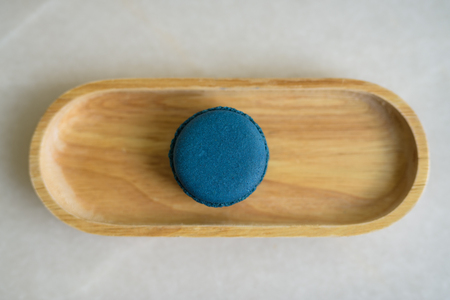 Directly Above Shot Of Blue Macaroon Served On Table