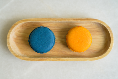 Directly Above Shot Of Two Macaroons Served On Table 免版税图像