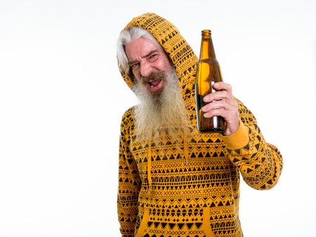 Studio shot of happy senior bearded man smiling and wearing hood