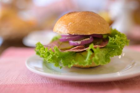 Closeup Of Mini Burger Served On White Plate Banco de Imagens