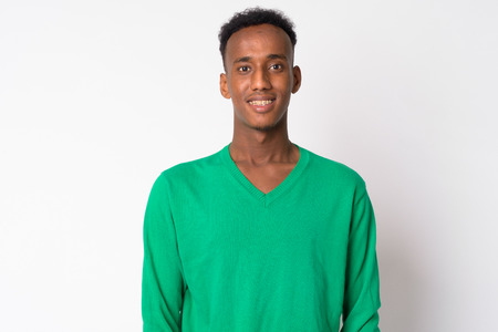 Portrait of young happy African man smiling Stock Photo
