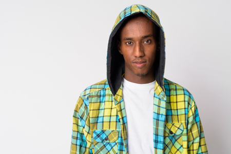 Young handsome African hipster man wearing hoodie