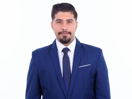 Face of handsome bearded Persian businessman wearing suit
