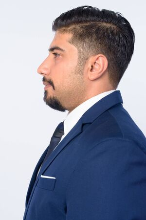 Closeup profile view of handsome bearded Persian businessman Stock Photo