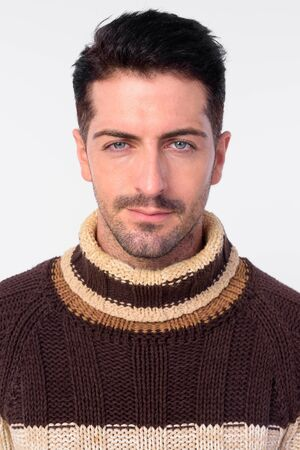 Face of handsome bearded man ready for winter Stock Photo