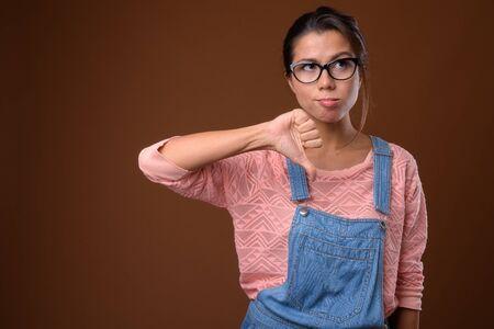 Portrait of beautiful multi ethnic nerd woman with eyeglasses Stock fotó