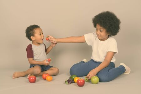 Young cute African siblings together against gray background