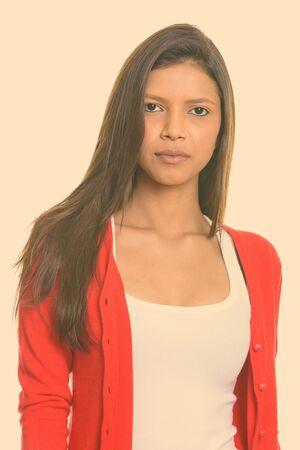 Close up of young beautiful Brazilian woman