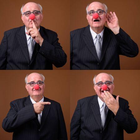 Collage of overweight senior businessman as clown being mischievous