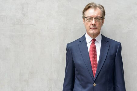 Handsome mature businessman in suit with eyeglasses against concrete wall Stock Photo