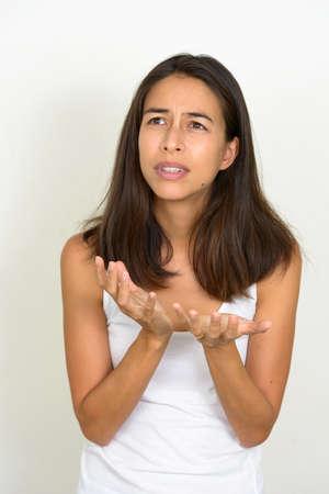 Portrait of stressed multi ethnic woman looking desperate