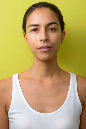Face of beautiful multi ethnic woman with hair tied Banque d'images